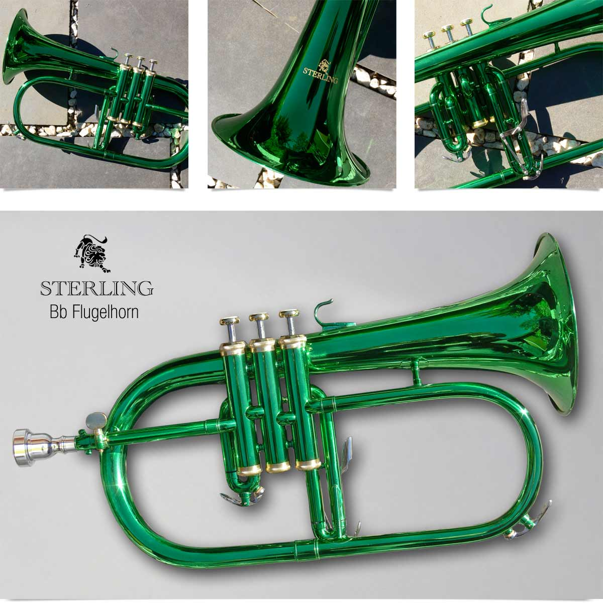 green sterling bb flugelhorn � with case and accessories