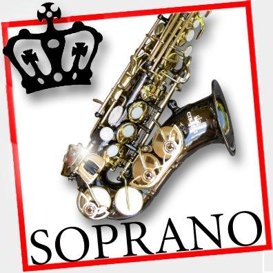 DARK-NICKEL-and-Gold-Curved-SOPRANO-SAX-Bb-Saxophone