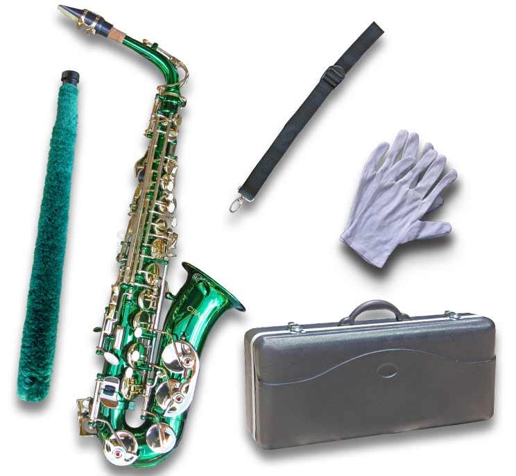 Green Alto Sax • Brand New STERLING Eb Saxophone • Case ...
