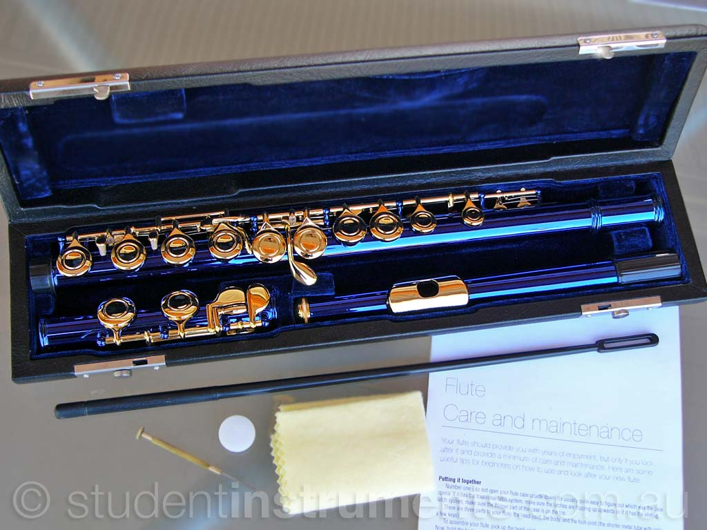 Blue And Silver C Foot Flute • Brand New • Case • Perfect For School Student • Musical Instruments & Gear